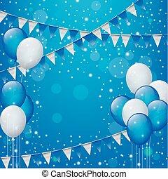 gelukkige verjaardag, met, ballons, vlaggen