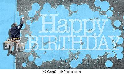 gelukkige verjaardag, muur, blauwe