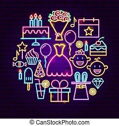 gelukkige verjaardag, neon, concept