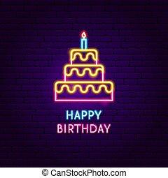 gelukkige verjaardag, neon, etiket