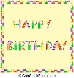 gelukkige verjaardag, potloden, alfabet, op, bruine achtergrond