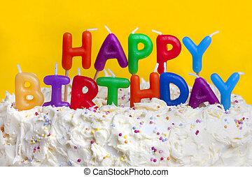 gelukkige verjaardag, taart, met, boodschap