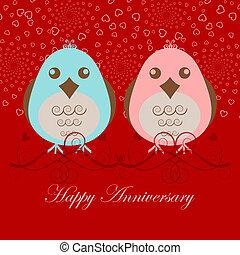 gelukkige verjaardag, twee, liefdevogels