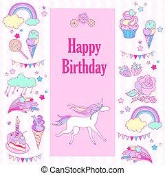 gelukkige verjaardag, vakantie, kaart, met, vlaggen, roos, eenhoorn, zoetigheden, aardbei, wolk, vuurwerk, sterretjes, en, regenboog