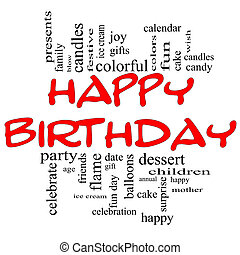 gelukkige verjaardag, woord, wolk, concept, in, rood, &, black