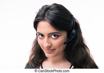 gelukkige vrouw, assistent, anwender, met, headphones