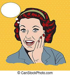 gelukkige vrouw, commercieel, retro, clipart, illustratie
