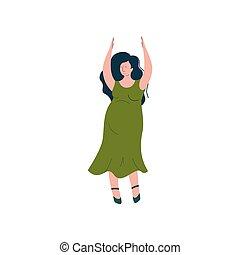 gelukkige vrouw, dancing, zwangere , moederlijk, illustratie, vector, brunette, zwangerschap, gezondheidszorg, aantrekkelijk