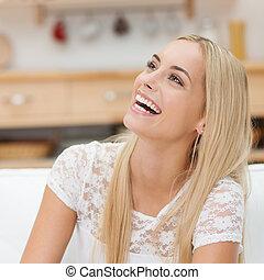 gelukkige vrouw, jonge, lachen