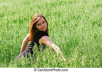 gelukkige vrouw, jonge, natuur