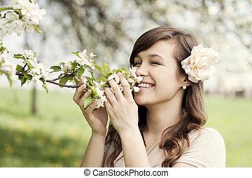 gelukkige vrouw, jonge