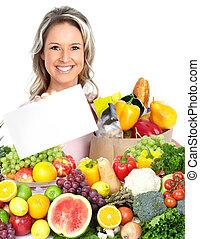 gelukkige vrouw, met, fruits.
