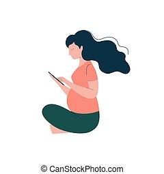 gelukkige vrouw, moederlijk, tablet, zwangere , illustratie, apparaat, vector, brunette, zwangerschap, gebruik, gezondheidszorg, aantrekkelijk