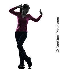 gelukkige vrouw, silhouette, dancing