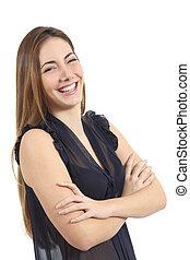 gelukkige vrouw, verticaal, lachen, met, een, witte , glimlachen, dentale zorg, concept