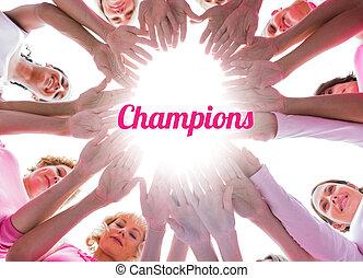 gelukkige vrouwen, in, cirkel, vervelend, roze, voor, weersta aan kanker