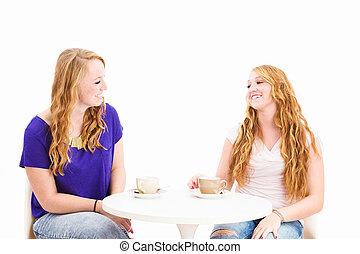 gelukkige vrouwen, zittende , op, een, koffie tafel