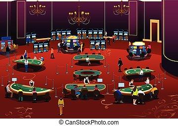 geluksspelletjes, casino, illustratie, mensen