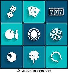 geluksspelletjes, casino, plat, iconen