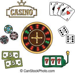 geluksspelletjes, casino, set, iconen