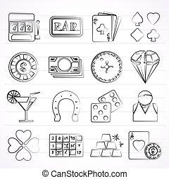 geluksspelletjes, en, casino, iconen