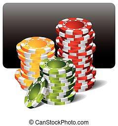 geluksspelletjes, illustratie, met, casino, communie