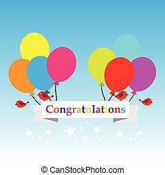 gelukwens, heeft, ballons, meldingsbord