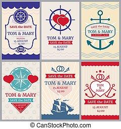 gelukwens, nautisch, achtergronden, vector, ontwerp, zee, uitnodiging, trouwfeest, tv nieuws
