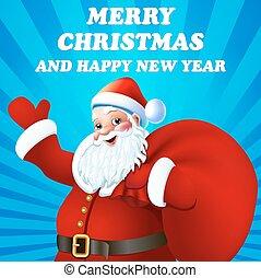 gelukwens, santa claus, illustratie, achtergrond, kerstmis