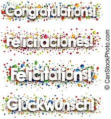 gelukwens, spandoek, kleurrijke, confetti.