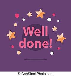 gelukwens, succesvolle , vervulling, goed, motivatie, aanmoediging, boodschap, frase, gedaan