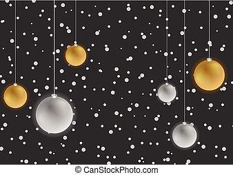 gelul, besneeuwd, kerstmis, donkere achtergrond, zilver, brons