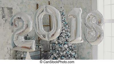 gelul, boompje, tegen, kerstmis, 2018, jaar, nieuw, zilver, achtergrond, vrolijke