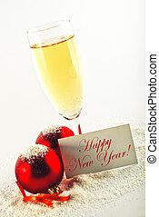 gelul, card., decoration., eva, jaar, wijntje, jaar, nieuw,...