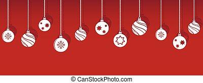 gelul, decoraties, kerstballen, hangend, schaduw, isoladed