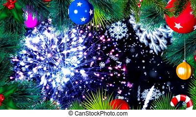 gelul, kleurrijke, vuurwerk, ronddraaien, animatie, kerstmis