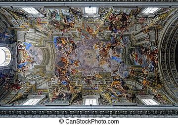 gemälde, auf, seiling, von, st, kathedrale, rom, italien