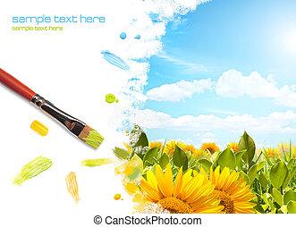 gemälde, sonnenblume, landschaftsbild