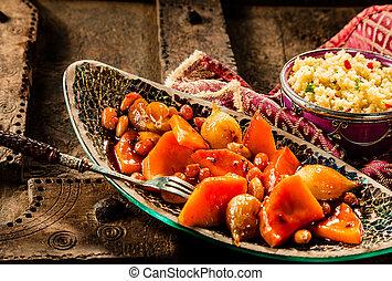 gemüse, couscous, holz, tellergericht, tisch, tajine