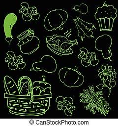 gemüse, doodles, erntedank, tag