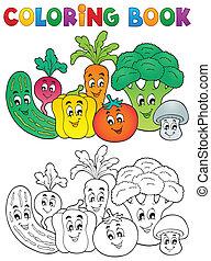 gemüse, färbung, thema, 2, buch
