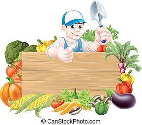 gemüse, karikatur, gärtner, zeichen