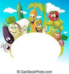 gemüse, lustiges, design, karikatur
