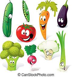 gemüse, lustiges, karikatur