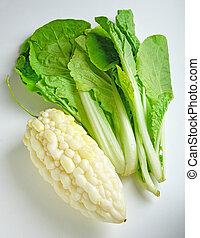gemüse, melone, weißes, bitter, hintergrund