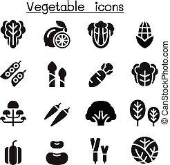 gemüse, satz, ikone