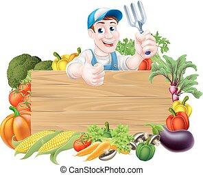 gemüse, zeichen, gärtner
