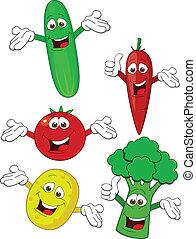 gemüse, zeichen, karikatur