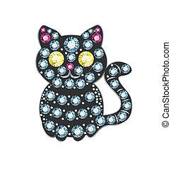 Gem Cat - cat made of colored gems