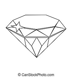 Gem diamond. A valuable prize in the casino.Kasino single icon in outline style vector symbol stock illustration.
